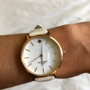 Kate Spade White Leather Rose Gold Watch 34mm